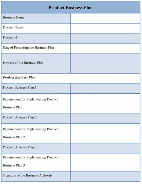 product template for business plan sample of product