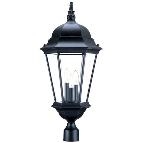 outdoor light fixtures home depot acclaim lighting richmond 3 light matte black outdoor post