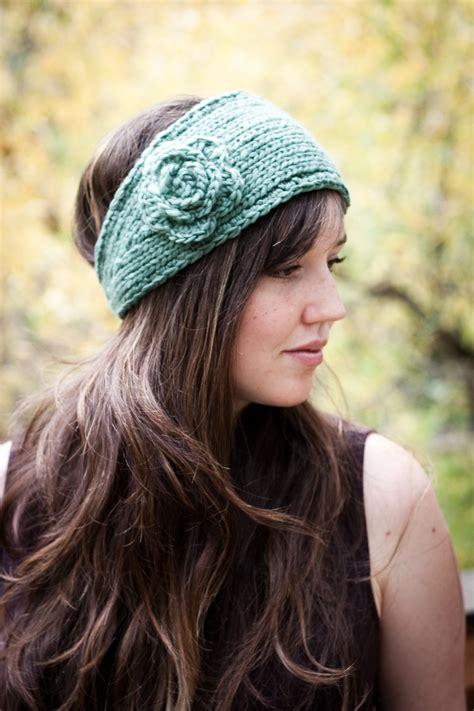 knitting headbands pattern flower headband earwarmer knit and crochet pattern