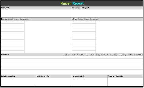 kaizen report template continuous improvement toolkit