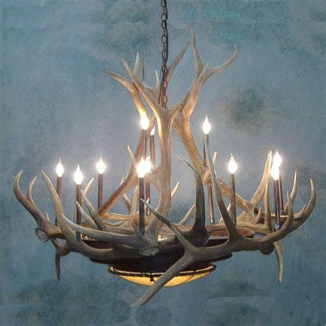 large mica rawhide elk antler chandelier