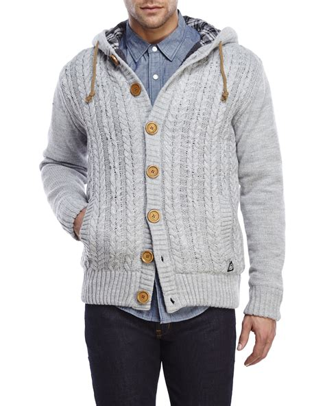 cable knit hooded cardigan american stitch cable knit hooded cardigan in gray for