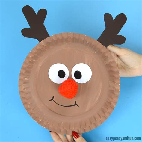 reindeer paper crafts reindeer paper plate craft with a nose easy