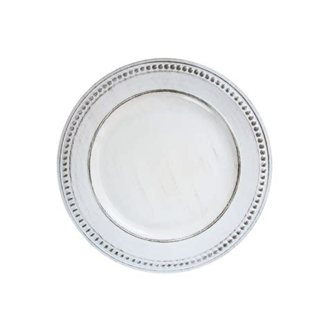 Import 1270281 Beaded White Antique 14 Quot Charger Plate