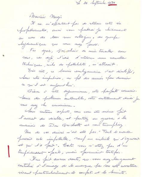 1974 lettre de monsieur meignan 224 paul mages lors de d 233 part 224 la retraite paul mag 232 s