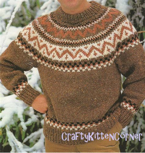 mens fair isle knitting patterns vintage mens nordic fair isle chunky sweater knitting pdf