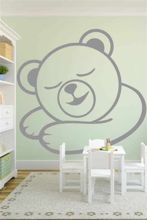 Adhesive Wall Mural baby wall decals sleepy bear walltat com art without