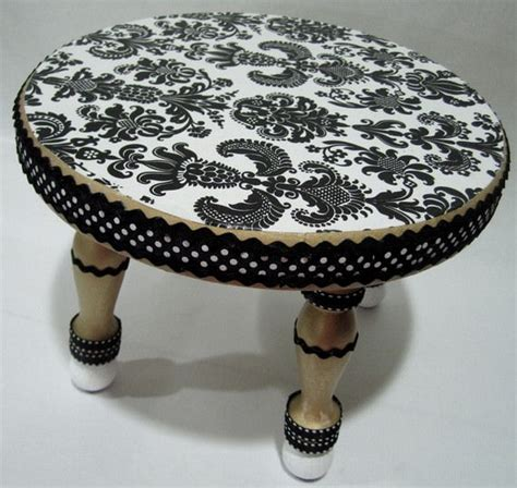 decoupage stool black and white damask decoupage step stool the frog and