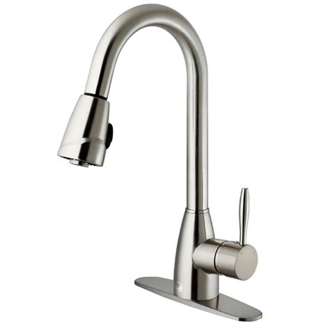 stainless steel pull kitchen faucet shop vigo graham stainless steel 1 handle deck mount pull kitchen faucet at lowes
