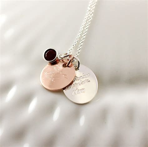 jewelry from home silver and gold handwriting necklace memorial jewelry