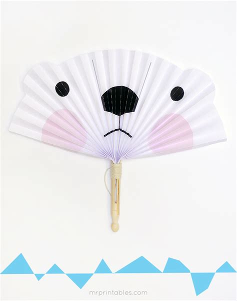 paper fan craft for arctic animals diy paper fans mr printables