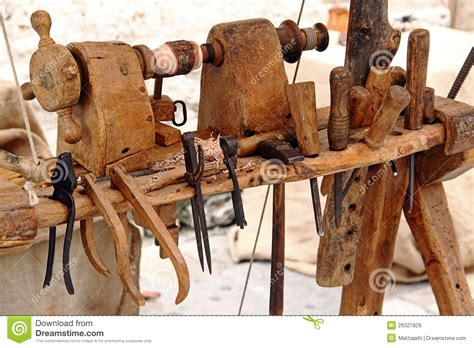 ancient woodworking lathe and tools for woodworking stock image image 26327829