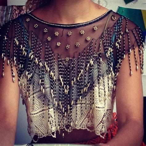 beaded shirts blouse beaded see through crop tops shirt top