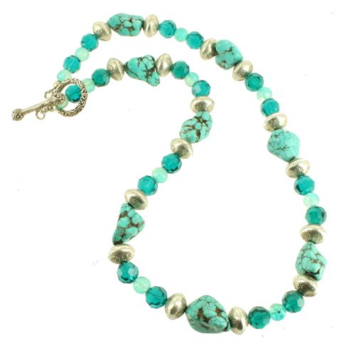 big bead necklaces vintage sterling turquoise big chunks silver blue green