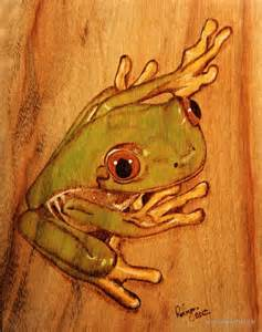 tree frog woodworking landscape pyrography search wood burning