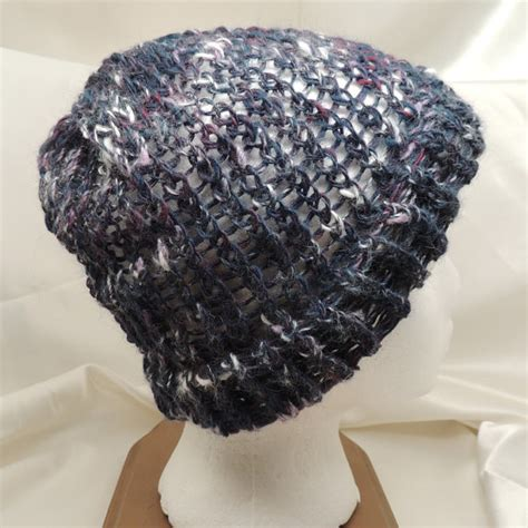 loom knitting hat brim twilight colors loom knit hat with brim by allasattic on etsy