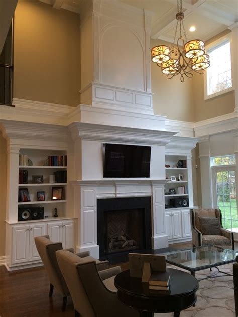 two story fireplace two story fireplace and built in bookshelves