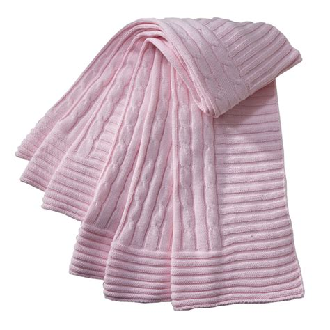 pink knitted blanket cable knit baby blanket in pink by baby