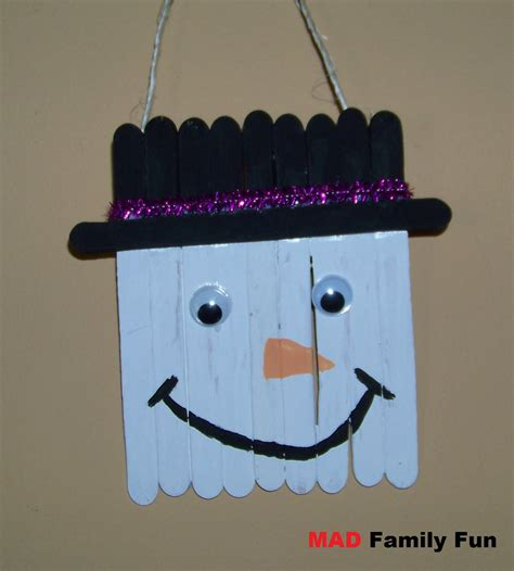 snowman craft mad family craft stick snowman