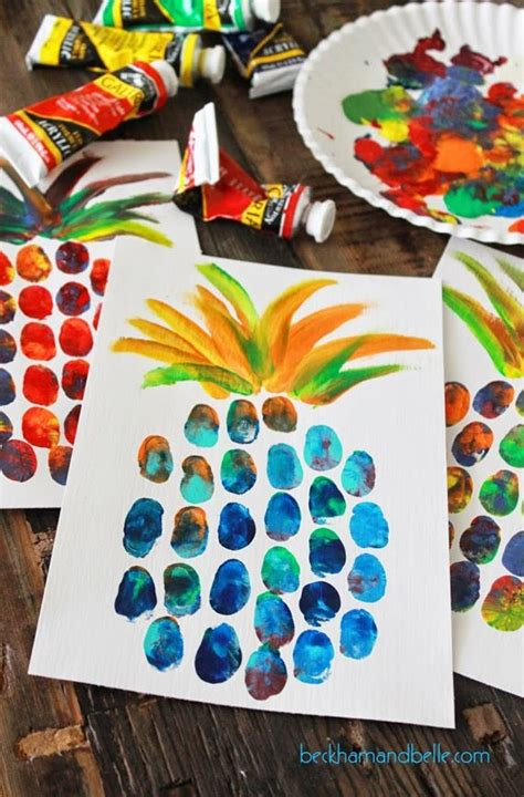 arts and crafts ideas for free pineapple thumbprint painting for summer
