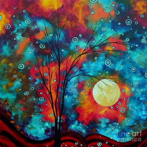 colorful painting colorful abstract landscape circles tree original