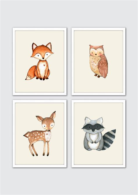 woodland creatures nursery decor woodland creatures nursery print set watercolor forest
