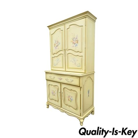 Shabby Chic Kitchen Cabinets vintage french country provincial floral painted liquor