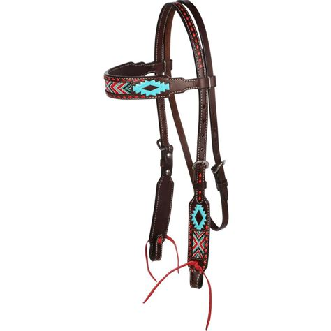 beaded headstalls shop oxbow aztec beaded browband headstall