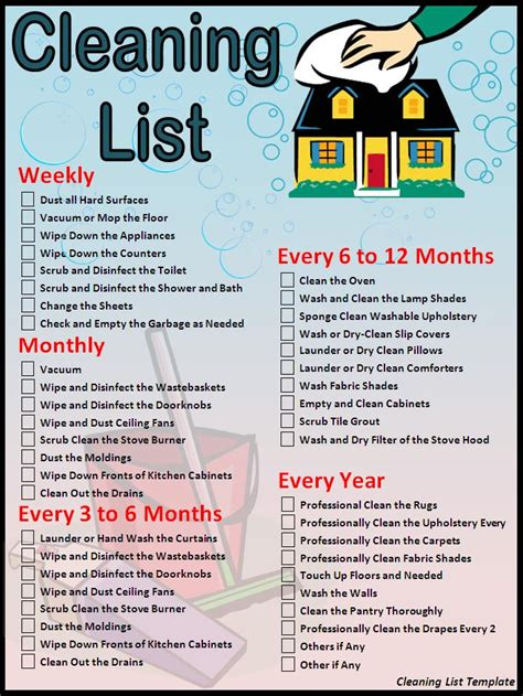 cleaning checklist template new calendar template site