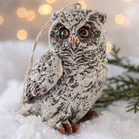 owls ornaments frosted resin owl ornament crows owls bats spiders