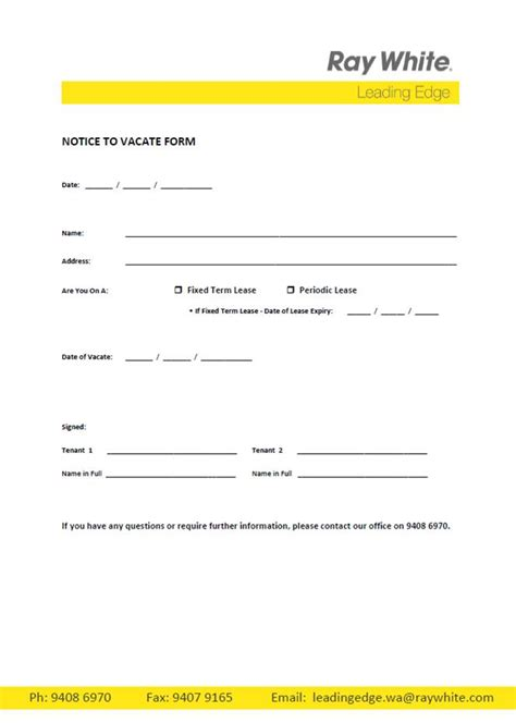 free printable intent to vacate letter template vacate