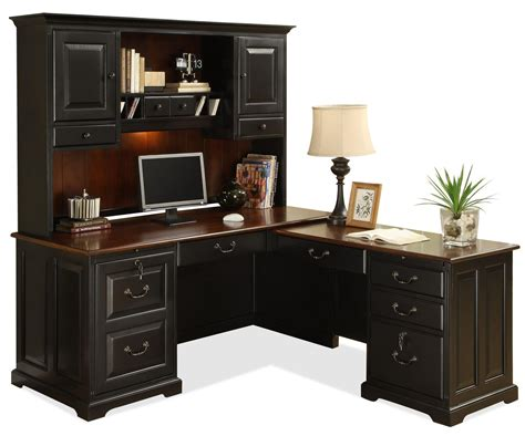 l computer desk with hutch l shape computer workstation desk with hutch by riverside