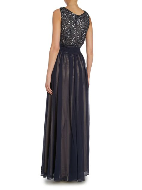js collections beaded gown js collections deco beaded bodice gown in blue lyst