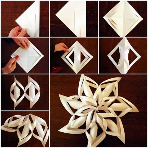 paper craft snowflakes diy 3d paper snowflake ornaments beesdiy