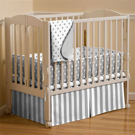 portable crib bedding for gray and white dots and stripes portable crib bedding