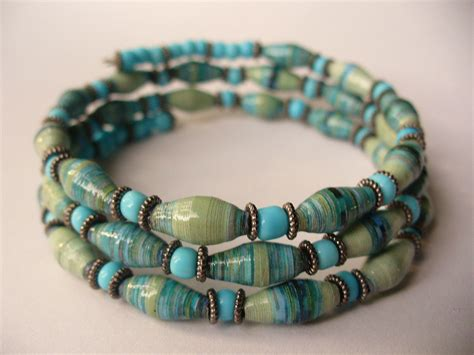 paper bead bracelets paper bead memory wire bracelet
