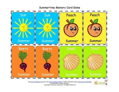 card for children matching summertime foods and activities card