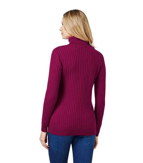 knitted womens jumpers woolovers womens lambswool ribbed polo neck jumper