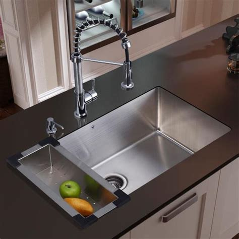 kitchen sink and faucet combo shop vigo all in one 30 mercer stainless steel undermount kitchen sink set with edison faucet