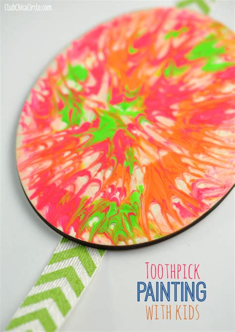 crafts for with paint easy toothpick painting with club chica circle
