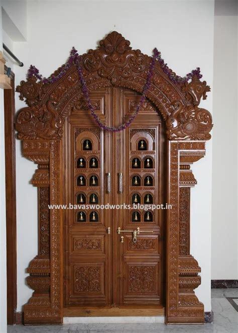 pooja room woodwork bavas wood works pooja room door frame and door designs