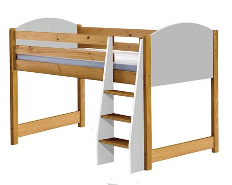 white mid sleeper bed frame mid sleeper cabin bed solid pine white single frame