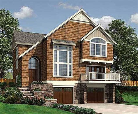 house plans for sloped lots sloping lot country cottage 6884am 2nd floor master suite cad available cottage country