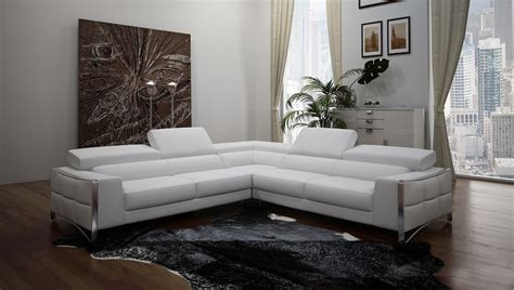 white modern sectional sofa divani casa metz modern white leather sectional sofa