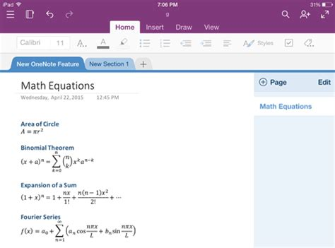 working with lists and equations on microsoft onenote for