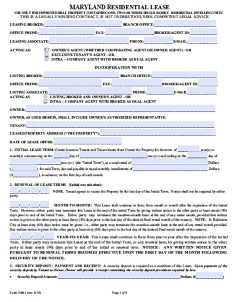 free maryland residential lease agreement pdf word doc