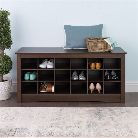 furniture organizer shoe storage cubbie entryway bench espresso organizer rack