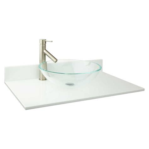 glass bathroom vanity top 31 quot x 19 quot narrow depth crystallized glass vessel