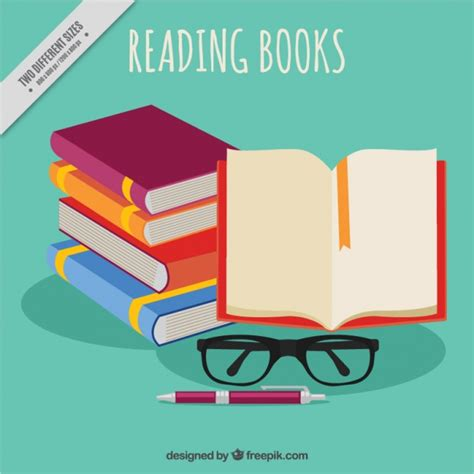 book free pile of books and glasses background vector free
