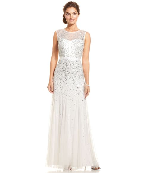 sleeveless beaded illusion gown papell sleeveless beaded illusion gown in white
